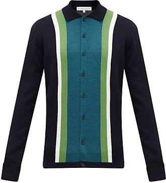 Orlebar Brown Sinclair X Striped Wool Cardigan - Mens - Navy Multi