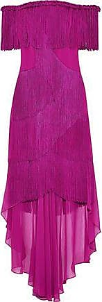 Badgley Mischka Badgley Mischka Woman Off-the-shoulder Fringed Crepe And Chiffon Gown Magenta Size 8