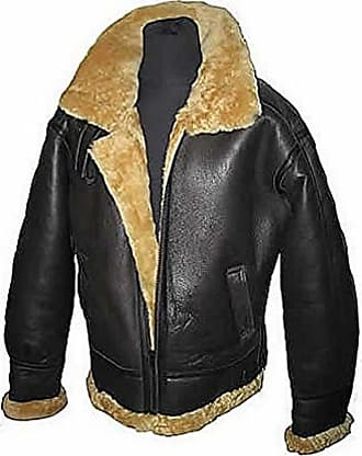Infinity Mens Aviator Ginger Brown B3 Real Shearling Sheepskin Leather Bomber Flying Pilot Jacket (XXL)