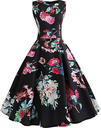 QUINTRA Women Vintage Sleeveless V Neck Evening Printing Party Prom Swing Dress (XL, Black 9496)