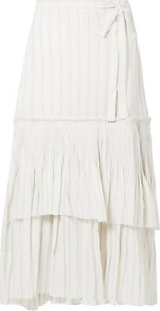 bfbc5b3ae Brock Collection Ortensia Ruffled Striped Cotton-voile Wrap Maxi Skirt -  Off-white