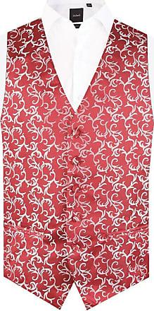 Dobell Mens Red/Silver Waistcoat Regular Fit 5 Button Edwardian Swirl Jacquard Pattern-XL (46-48in)