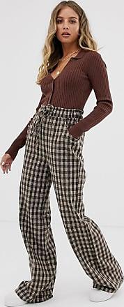 Emory Park Pantalones de cuadros de pernera ancha de Emory Park-Marrón