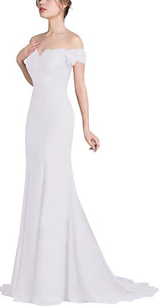 Yonglan Womens Formal Evening Dress Off Shoulder Sleeveless Maxi Ball Gown Wedding Cocktail Party Dresses White S
