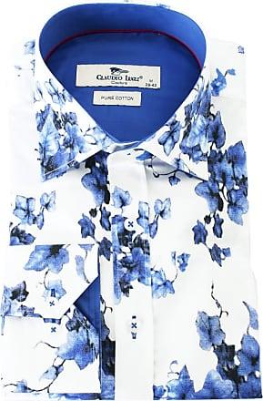 Claudio Lugli White Pure Cotton Floral Print Long Sleeve Mens Shirt 2XLarge Blue