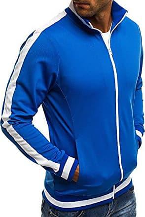 OZONEE Herren Sweatshirt Sweatjacke Sportjacke Pullover Pulli Basic  Klassiker Longsleeve O 2126 BLAU XL c3b9e327bd