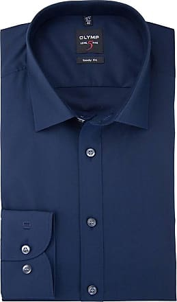 Olymp Mens Plain Formal Shirt Blue midnight blue - Blue - 15.5