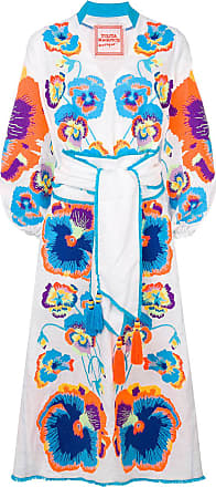 Yuliya Magdych pansies embroidered dress - White