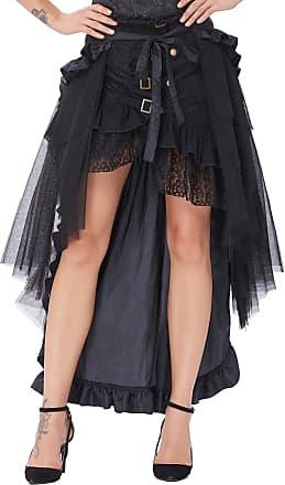 Belle Poque Halloween Gothic A-Line Lace Up Asymmetric Long Skirt Amelia Lolita Skirt Black