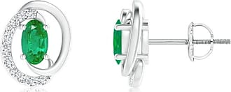 Angara Valentine Day Sale - Floating Oval Emerald Swirl Earrings with Diamond Accents
