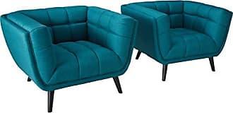 ModWay Modway EEI-2982-TEA-SET Bestow Mid-Century Modern Upholstered Fabric Living Room Armchairs, 2 Piece, Teal