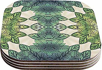 KESS InHouse Art Love PassionForest Leaves Green Teal Celtic Abstract Coasters (Set of 4), 4 x 4, Multicolor