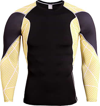 YiJee Mens Running Tops Quick Dry Fitness Compression Base Layer Long Sleeves T-Shirts Yellow 4XL