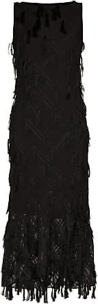 Xu Zhi Vestido longo sem mangas com aplicação xadrez - Preto