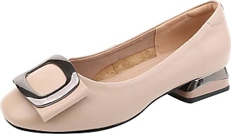 Jamron Womens Fashion Square Toe Chunky Heel Smooth Leather Pumps Shoes Apricot SN02850 UK2.5