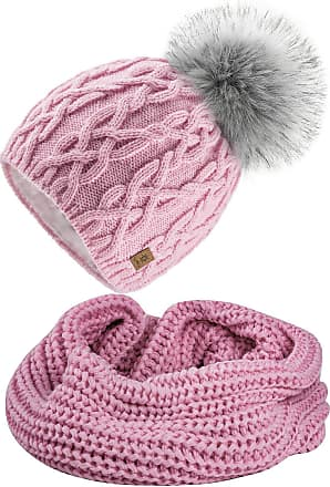 4sold Ladies Womens Beanie Warm Winter Bobble Faux Fur Pom Pom Wooly Full Liner Cossy - Set Model 1 Pink 09