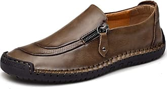 LanFengeu Men Leather Shoes Handmade Low Top Breathable Slip on Flat Loafers Business Office Walking Driving Casual Moccasins Khaki