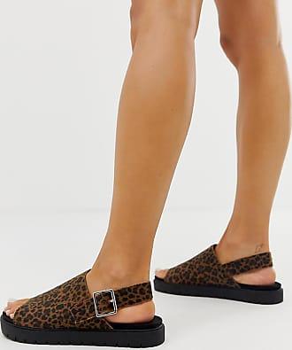 Monki Sandali flatform marrone leopardato con cinturino posteriore