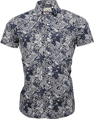 Relco Mens Navy Blue Floral Paisley Short Sleeve Shirt Button Down Collar - Medium