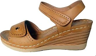 Cushion-Walk Womens Adjustable Strap Wedge Sandal in Tan - Shelley 8 UK