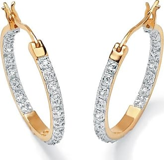 PalmBeach Jewelry 1/10 TCW Round Diamond Accented Inside-Out Hoop Earrings in 18k Gold over Sterling Silver