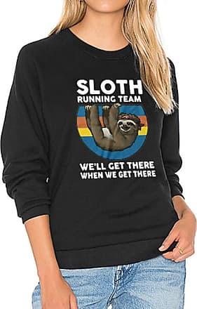 Dresswel Women Sloth Running Team Sweatshirt Pullover Long Sleeve Tops Shirts Jumper Blouse Black