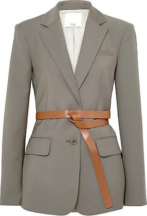 Tibi Tablier Belted Woven Blazer - Dark gray