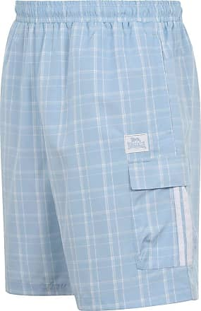 Lonsdale Mens 2 Stripe Checked Shorts Woven Pants Trousers Bottoms Zip Mesh Blue S