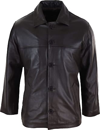 Infinity Mens Casual Real Leather Jacket Button Box Black Brown Mid Length Classic Coat - Brown s