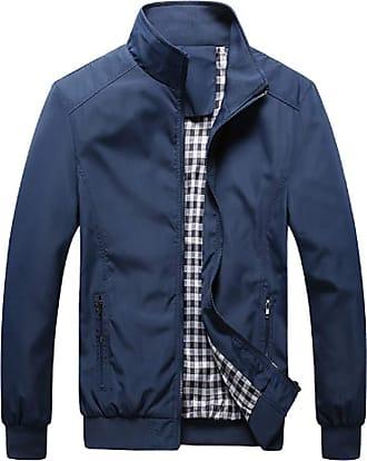 Inlefen Mens Casual Jacket Outdoor Sportswear Windbreaker Lightweight Keep Warm Slim Fit Stand Collar Coats(Deep Blue/2XL)