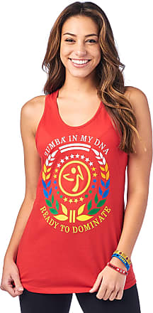 Zumba Loose Graphic Print Dance Fitness Tank Activewear Workout Tops for Women, Really Red-y 0, XS