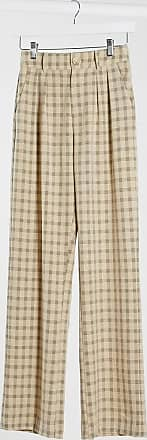 4th & Reckless wide leg suit trousers in check-Multi