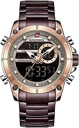 NAVIFORCE Relógio Masculino Naviforce NF9163 RGCE Pulseira em Aço Inoxidável - Marsala e Dourado Rose