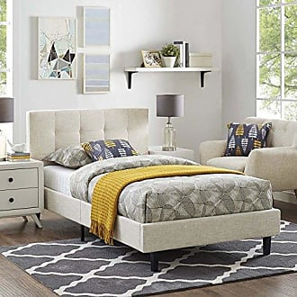 ModWay Modway Linnea Upholstered Beige Platform Bed with Wood Slat Support in Twin