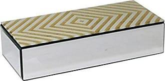 Sagebrook Home MDF Glass Box, 10.75 x 4.75 x 2.5, Silver/Gold