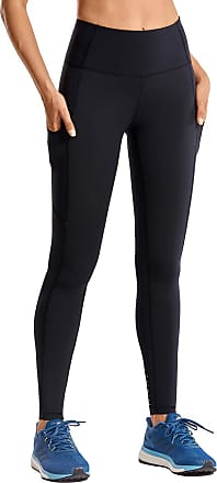 CRZ YOGA Womens High Waisted Yoga Pants with Pockets Athletic Leggings-28 inches Black 12