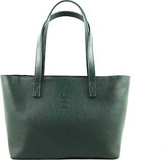 Comembreisd Woman Handbag 42cm in green leather designed and handmade in Italy