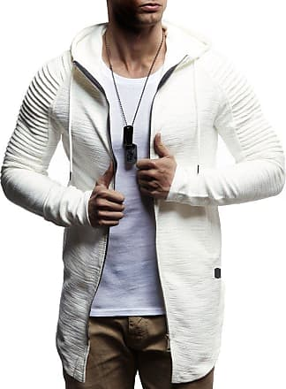 LEIF NELSON Men Sweat Jacket Hoodie LN-8149 Ecru X-Large