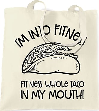 Tim And Ted Funny Tote Bag Im Into Fitness Whole Taco In My Mouth - (Natural/One Size)