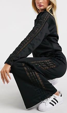 adidas Originals Bellista lace insert wide leg trousers in black