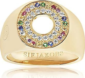 Sif Jakobs Jewellery Signet Ring Valiano - 18k gold plated with multicoloured zirconia