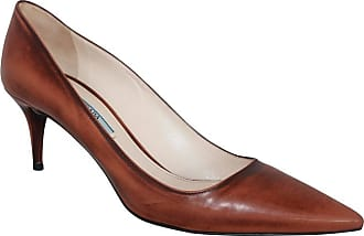 4f5a6992f649 Prada Brown Unfinished Patent Pointed Toe Low Heels - 41