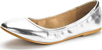 Dream Pairs Womens Slip On Round Toe Ballet Flats Pumps Shoes Sole-Fina Silver Glitter - 8.5 M US