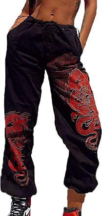 Hellomiko Chinese Dragon Print Harem Trousers Women Harajuku Drawstring Sports Jogger Hip Hop Pants Black