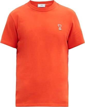 Ami Ami - Logo-patch Cotton-jersey T-shirt - Mens - Orange