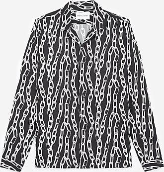 The Kooples Black classic-collar shirt with chain motif - MEN