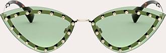 Valentino Valentino Occhiali Occhiale Triangolare In Metallo Con Borchie In Cristallo Donna Verde 100% Fibra Metallizzata OneSize