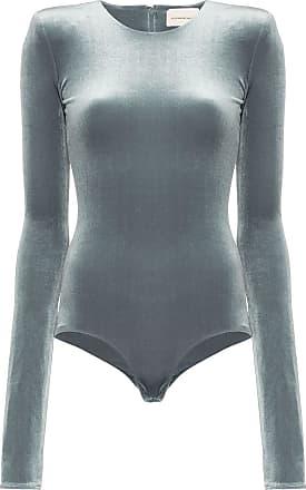 Alexandre Vauthier velvet padded shoulder bodysuit - Cinza