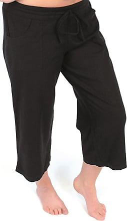 Tom Franks Ladies Black Linen Blend Cropped 3/4 Length Trousers Size 14