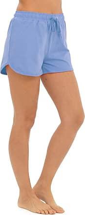 Tom Franks Womens Ladies Solid Colour Elasticated Cotton Blend Summer Beach Shortie Shorts - Light Blue - 20-22